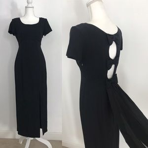 Vintage Black SS Evening Gown with Bows